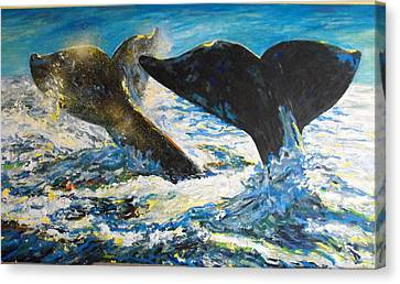 Canvas Print featuring the painting Blue Whales by Koro Arandia
