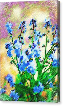 Canvas Print featuring the photograph Blue Wildflowers by Donna Bentley