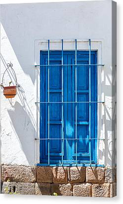 Blue Window And White Wall Canvas Print