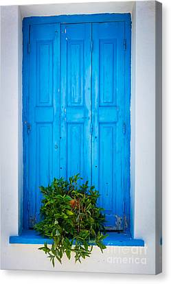 Cyclades Canvas Print - Blue Window by Inge Johnsson