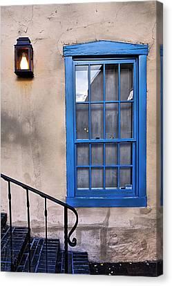 Blue Window Of An Adobe Building Santa Fe Canvas Print by George Oze