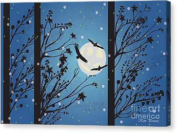 Canvas Print featuring the digital art Blue Winter Moon by Kim Prowse