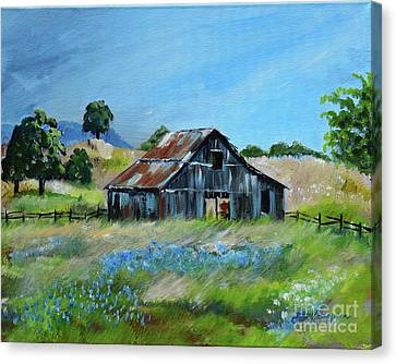 Canvas Print featuring the painting Bluebell Barn - Rustic Bar - Bluebellsn by Jan Dappen