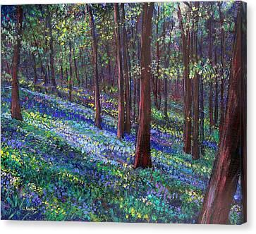 Bluebell Woods Canvas Print by Li Newton