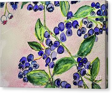 Canvas Print featuring the painting Blueberries by Kim Nelson
