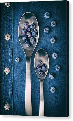 Fruit Canvas Print - Blueberries On Denim I by Tom Mc Nemar