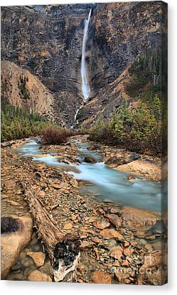 Canvas Print featuring the photograph Blueberry Blue Waters Under Takakkaw Falls by Adam Jewell