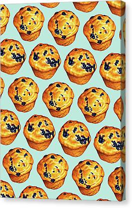 Blueberry Muffin Pattern Canvas Print by Kelly Gilleran