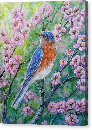 Bluebird And Blossoms Canvas Print by Gail Butler