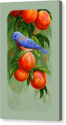 Peach Canvas Print - Bluebird And Peaches Iphone Case by Crista Forest