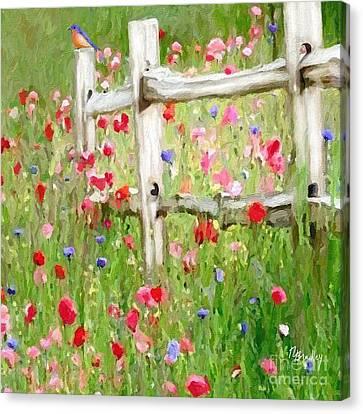 Bluebird And Wildflowers Canvas Print by Tammy Lee Bradley