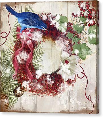 Bluebird Christmas I Canvas Print