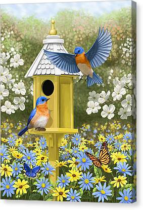 Bluebird Garden Home Canvas Print by Crista Forest