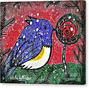 Bluebird Of The Season Canvas Print by MaryLee Parker