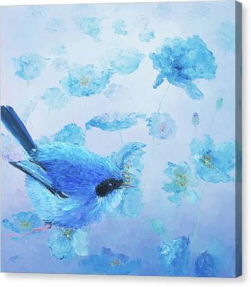 Bluebird On Blue Poppies Canvas Print