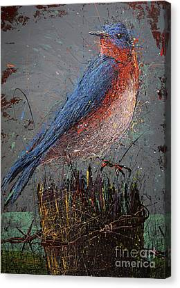 Bluebird On Fence Post Canvas Print by Michael Glass