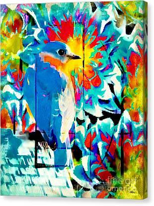 Bluebird Pop Art Canvas Print by Tina LeCour