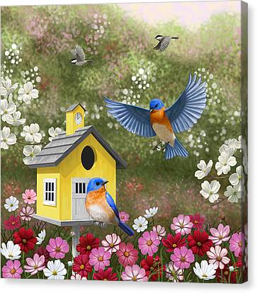 Bluebird Canvas Print - Bluebirds And Yellow Birdhouse by Crista Forest