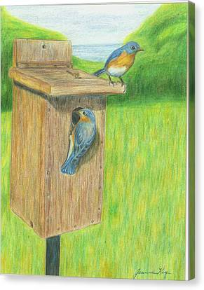 Canvas Print featuring the painting Bluebirds by Jeanne Kay Juhos