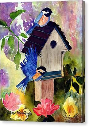 Bluebirds Nesting Canvas Print by George Markiewicz