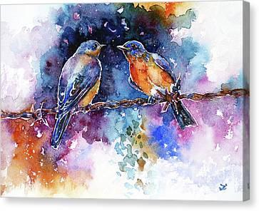 Canvas Print featuring the painting Bluebirds by Zaira Dzhaubaeva