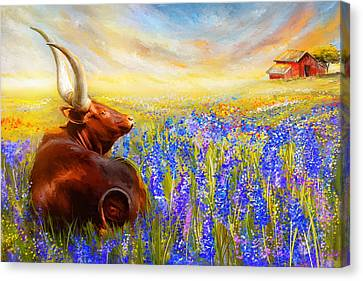 Bluebonnet Dream - Bluebonnet Paintings Canvas Print by Lourry Legarde