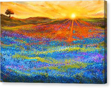 Bluebonnet Horizon - Bluebonnet Field Sunset Canvas Print