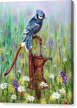 Bluejay Peaceful Perch Canvas Print by Judy Filarecki