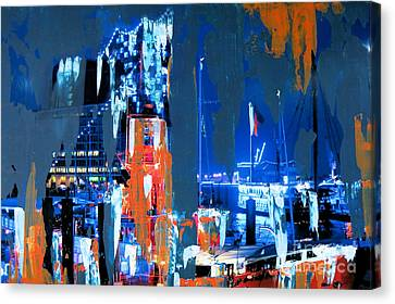 Blueport With Fire Ship Canvas Print