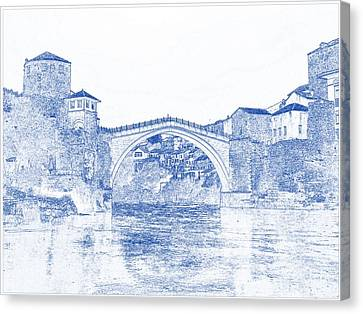 Blueprint Drawing Of Modern Building 11 Bosnia Stari Europe Herzegovina Old Balkan Town Canvas Print by Celestial Images