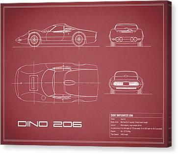 Sports Canvas Print - Blueprint Ferrari Dino - Red by Mark Rogan
