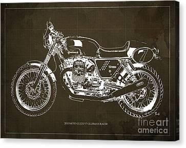 Blueprint Moto Guzzi V7 Clubman Racer, Brown Background Canvas Print by Pablo Franchi