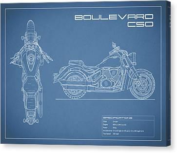 Blueprint Of A Boulevard C50 Motorcycle Canvas Print