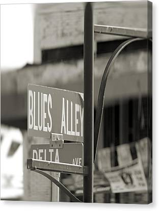Blues Alley Street Sign Canvas Print