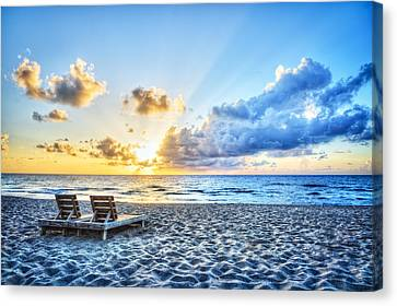 Adirondack Chairs On The Beach Canvas Print - Blues And Golds Of Summer by Debra and Dave Vanderlaan