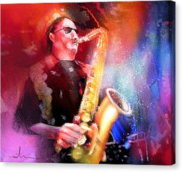 Blues Saxophonist Canvas Print by Miki De Goodaboom