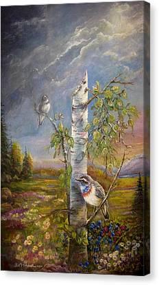 Bluethroat On The Tundra Canvas Print