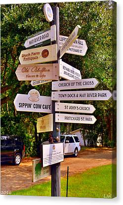 Bluffton Sc Directions Canvas Print by Lisa Wooten