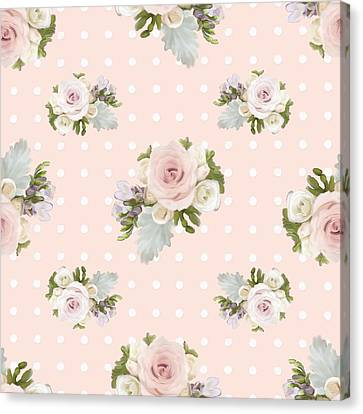 Blush Pink Floral Rose Cluster W Dot Bedding Home Decor Art Canvas Print by Audrey Jeanne Roberts