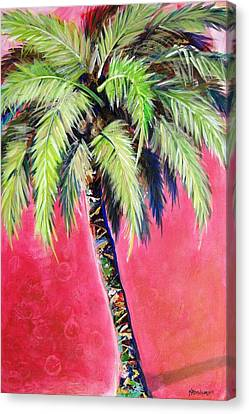 Blushing Pink Palm Canvas Print by Kristen Abrahamson