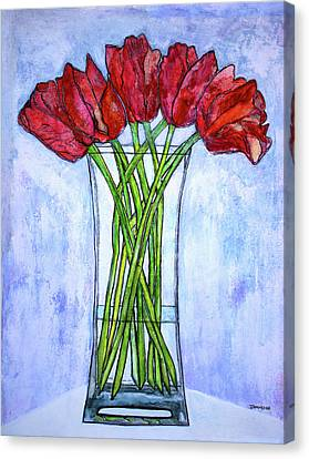 Blushing Red Tulips Canvas Print by Janet Immordino