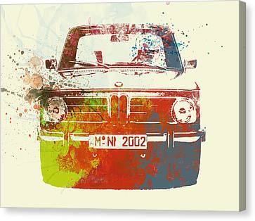 Bmw Vintage Cars Canvas Print - Bmw 2002 Front Watercolor 2 by Naxart Studio