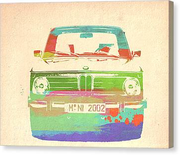 Bmw Vintage Cars Canvas Print - Bmw 2002 Front Watercolor 3 by Naxart Studio