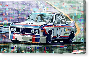 Bmw Racing Classic Bmw Canvas Print - Bmw 3 0 Csl 1st Spa 24hrs 1973 Quester Hezemans by Yuriy  Shevchuk
