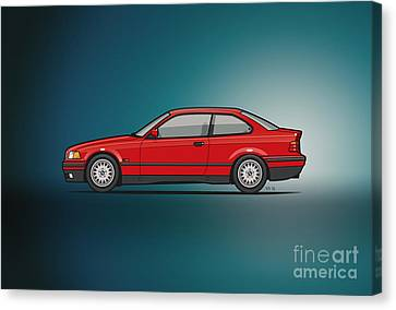Bmw 3 Series E36 Coupe Red Canvas Print