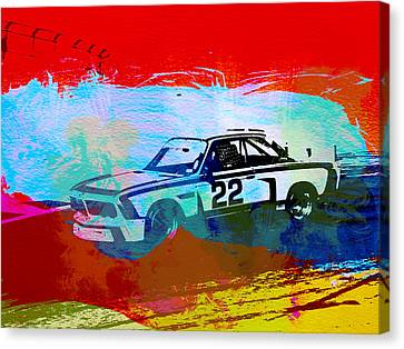 Bmw Vintage Cars Canvas Print - Bmw 3.0 Csl Racing by Naxart Studio