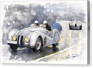Bmw Canvas Print - Bmw 328 Roadster by Yuriy  Shevchuk