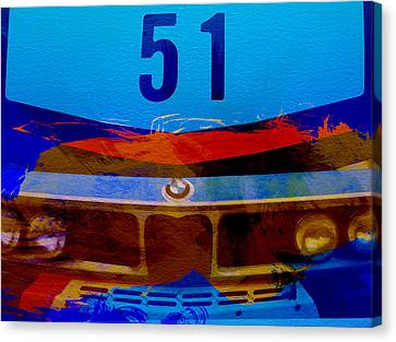 Bmw Vintage Cars Canvas Print - Bmw Racing Colors by Naxart Studio