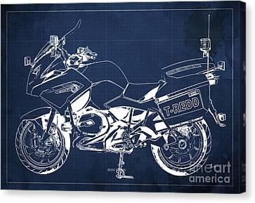 Bmw Rt1200 Police Blueprint Canvas Print by Pablo Franchi
