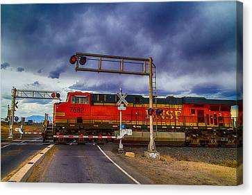 Canvas Print featuring the digital art Bnsf 7682 Crossing by Bartz Johnson